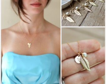 Personalized Bridesmaid Necklaces, Gold Leaf, Gold Feather, Gold Initial Necklace, Outdoor Wedding, Fall Wedding, Autumn Wedding, Pearls