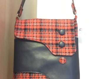 Vintage look Scottish tweed handbag