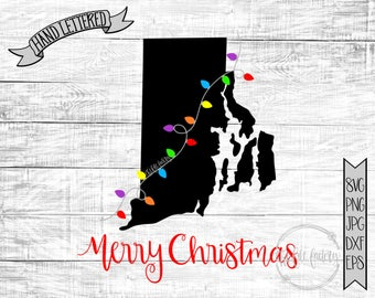 Merry Christmas Rhode Island Christmas Lights SVG / Merry Christmas Y'all Cut File and Printable / Commercial Use