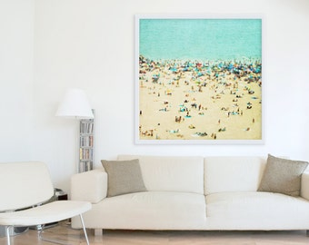 "Extra Large Beach Photography // Aquamarine Blue Green Beige // Large Beach Wall Art // Contemporary // Coastal Wall Decor  50x50"" & 60x60"""