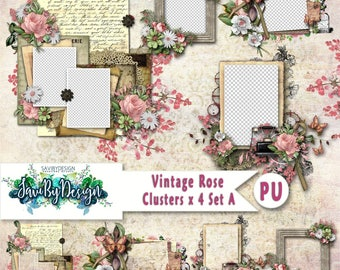 Digital Scrapbooking Clusters set of 4 - VINTAGE ROSE premade embellishment png clusters to make immediate scrap page