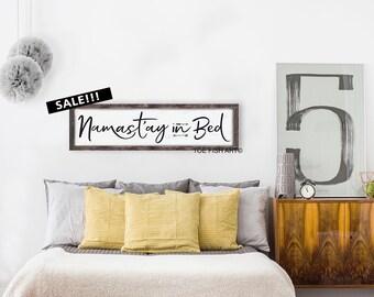 Namast'ay in Bed Sign, Wood Sign, Yoga Decor, Hippe Decor,  Wall Decor,  Bohemian Wall Art, Bedroom Sign, Framed Sign, Namaste, Wall Art