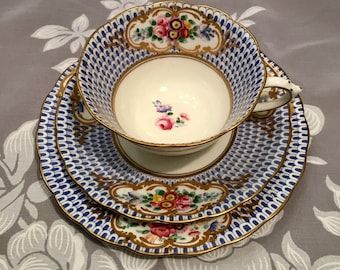 Vintage English bone china Chelson teacup, saucer and dessert plate