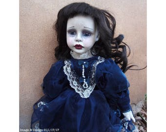 Girl In Blue Velvet Doll by Ugly Shyla - Ugly Art Dolls - One Of A Kind Doll - Gothic Doll - Victorian Gothic - Gothic Decor Repainted Doll