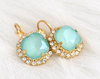 Mint Earrings, Seafoam Earrings, Swarovski Mint Opal Earrings, Bridal Mint Earrings, Bridesmaids Earrings, Mint Opal Earrings, Gift For Her