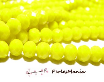 1 strand of approximately 135 beads 4 x 3 color 11 mm yellow faceted glass Rondelles