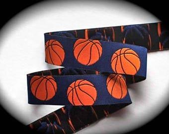 "Basketball Ribbon - 1"" - Blue and Orange - Woven Jacquard Basketball Ribbon"