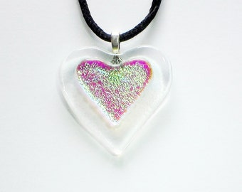Dichroic Heart on Clear Fused Glass Pendant