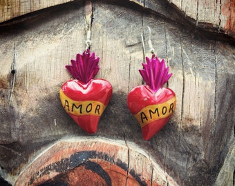 Mexican Tin Earrings Sacred Heart Amor Love, Heart Jewelry, Southwestern Gift for Her, Affordable Gift for Girlfriend Her Heart Earrings