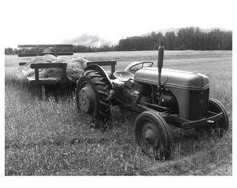 Alaska Farm Tractor Black and White photo print 5x7 matted for 8x10