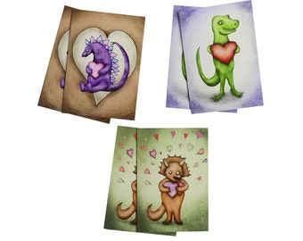 Dinosaur Valentines Six Card Stationary Set