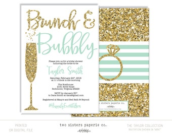 Mint Brunch and Bubbly Bridal Shower Invitation - Mint Bridal Shower - Brunch & Bubbly - TAYLOR Collection - Printable File