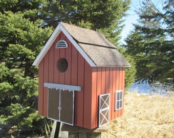 Stable Bird House, Red Birdhouse, Handmade Birdhouse, Outdoor Birdhouse,  Unique Birdhouse, Wooden Birdhouse