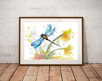 Giclee print, Dragonfly watercolour PRINT, dragonfly, watercolour painting, dragonfly illustration, dragonfly art, wildlife