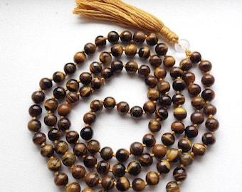 Tiger eye, Mala beads, mala necklace, meditation beads, prayer beads, yoga necklace, free shipping, long necklace, tiger eye mala,
