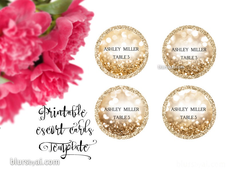 Printable Round Escort Cards Round Place Cards Template - Escort card template