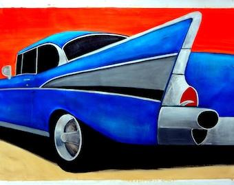 """1957 Chevrolet Bel Air Original Oil Painting 35 x 54"""""""