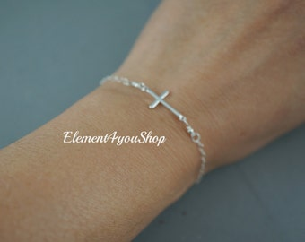 Sterling silver Cross bracelet Dainty chain religious Jewelry Gift for Her