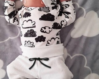 Beautiful cotton newborn clouds outfit 0-3 months