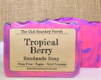 Tropical Berry Handmade Soap, Vegan Soap, Palm Free Soap