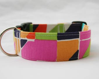 Geometric Tiles-Adjustable Dog- Pet Collar- Pet Accessories- Supplies Dog Collar-Large Breed Dog- Wide 1.5 inch 2 inch