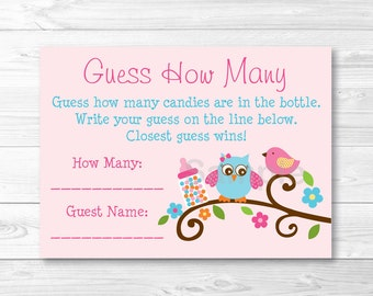 Cute Owl Guess How Many Game / Owl Baby Shower / Bird Baby Shower / Candy Guessing Game / Baby Girl Shower / Printable INSTANT DOWNLOAD A361