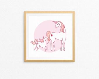 Unicorn Print; Mothers Day; Nursery Decor; Nursery Wall Art;  Printable; Digital Download; Nursery Printable; Mothers Day Print