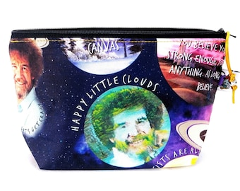 Gusseted Zipper NOTIONS POUCH with zipper pull - Bob Ross