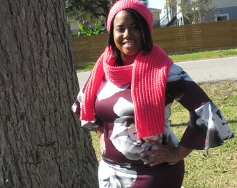 Crochet Hat and Scarf: Arbor Rose Crochet Slouch Hat and Scarf