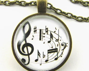 MAKING MUSIC Necklace --  Make a joyful noise, Uplifting musical art, Treble clef with dancing notes, Gift for music lovers