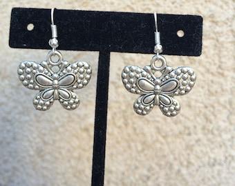 Cute silver butterfly earrings