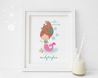 Personalised Mermaid Print - Sea Nursery Art - Mermaid Wall Art - Mermaid Name Print - Under the Sea Print  - Mermaid Quote  (UNFRAMED)
