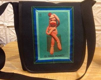 El Sock Monkey Canvas Messenger Bag, Shoulder Bag Courier Daybag. School Bookbag
