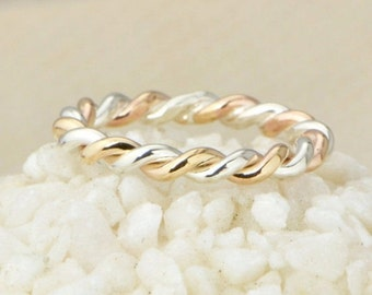 Two Toned Ring, Two-toned Twist Ring, Stacker Ring, Thumb Ring, Gold Filled, Stacking Ring, Twisted Ring, Braided Ring, Gift For Her