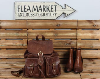 Leather Backpack, Rucksack, Purse, Distressed Brown