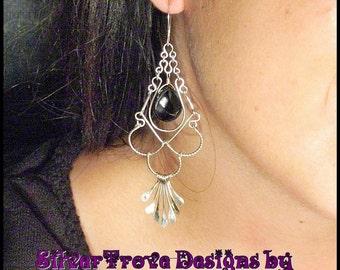 Sterling Silver Long Earrings, Interchangeable Stone Earrings, Sterling Silver Chandeliers, Custom Order Chandelier Earrings