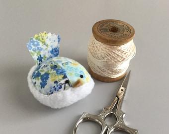 Pincushion Blue Floral Bird Pincushion Floral Pin Keep Kawaii Bird