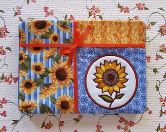 Sunflower Applique Fabric Snack Mat Mug Rug Set of 4