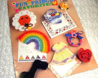 Fun Fridgie Favorites, Annie's Attic, Crocheted Refrigerator Magnet Patterns, Rainbow, Hat, Red Rose, Cowboy Hat, Duck, Butterfly  (773-15)