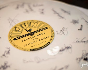 Blank Vinyl Record Guestbook with Custom Labels