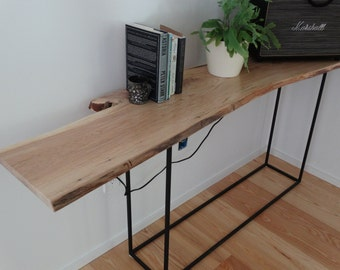 Custom built ash or cherry hall table/console with a blackened steel base - made to order