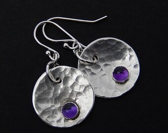 Amethyst Disc Earrings, Hammered Sterling Silver Coin Earrings, Polished Circle Dangles, Minimalist Jewelry