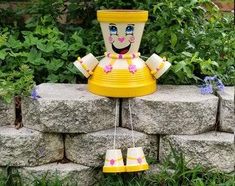 Flower Pot Girl~Clay Pot Person~Terracotta Pot Person~Garden Decor~Garden Art~Painted Flower Pots~Clay Pot Girl~Clay Pot People~Terracotta