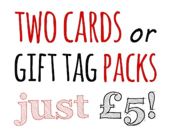 SPECIAL OFFER 2 letterpress cards or packs of gift tags Assorted Mix and Match Selection