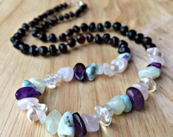 Pregnancy Necklace - Baltic amber birth necklace, new mom necklace, postpartum necklace, pregnancy crystals, crystals for birth, birthstones