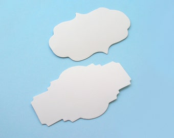 Blank white stickers (20 pieces) available in two different shapes
