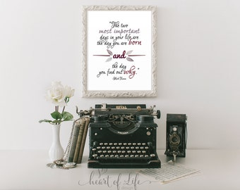 Printable art, Inspirational quote print, Mark Twain quote, The two most important days in your life quote, Poetry print, Home office decor