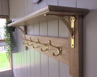 Vintage Style Wooden Oak Coat Rack With Shelf – Arched Modern Solid Brass