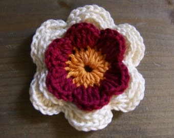 ONE Crocheted applique three-colors flower