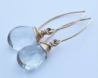Green Amethyst Briolette Goldfilled Earrings EE Designs